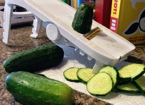 Frugally Rooted- mandolin cucumber